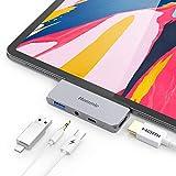 Hommie USB C Hub, 4 in 1 Aluminium Typ C Adapter mit 4K HDMI, USB C PD Aufladung, USB 3.0 und 3,5mm Audioausgang, Kompatibel mit iPad Pro 2018, MacBook Pro, Microsoft Surface Go usw. Grau