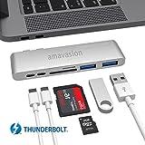 Thunderbolt 3 Typ C-HUB, USB Amavasion C HUB Adapter 6 in 1 für Macbook Pro 2016/2017 15 '/ 13' mit TB3 Bis zu 40 Gb / s, Micro SD, SD, USB, Typ C, 2 * USB 3.0.