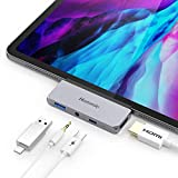 Hommie USB C Hub, 4 in 1 Aluminium Typ C Adapter mit 4K HDMI, USB C PD Aufladung, USB 3.0 und 3,5mm Audioausgang, Kompatibel mit iPad Pro 2018/2020, MacBook Pro, Microsoft Surface Go usw. Grau