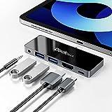 USB C Hub 4K 60Hz für iPad Pro 2018-2021, Dockteck 5 in 1 USB Typ C Adapter mit HDMI, 100W PD Ladeanschluss, USB 3.0 Anschlüsse, 3.5mm Audio, für neues iPad Pro / iPad Air 4