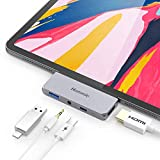 Hommie USB C Hub, 4 in 1 Aluminium Typ C Adapter mit 4K HDMI, USB C PD Aufladung, USB 3.0 und 3,5mm Audioausgang, Kompatibel mit iPad Pro 2018, MacBook Pro, Microsoft Surface Go usw. Grau