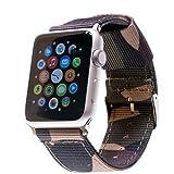 LOJI Premium Ersatzarmband kompatibel mit Allen Apple Watch Modellen inkl. Edelstahl-Adapter (44/42mm Camouflage mit schwarzem Adapter)