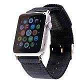 LOJI Premium Ersatzarmband kompatibel mit Allen Apple Watch Modellen inkl. Edelstahl-Adapter (44/42mm Schwarz mit schwarzem Adapter)