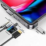 Baseus USB C Hub for iPad Pro 2021 2020 2019, 6 in 1 Typ C auf HDMI 4K Adapter, 100W Stromversorgung, USB 3.0 Anschlüsse, SD/TF Kartenleser, 3.5mm Klinkenanschluss kompatibel mit MacBook Pro/iPad Pro