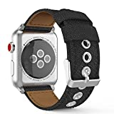 MoKo Apple Watch Series 3 / 2 / 1 38mm Armband, Denim Replacement Uhrenarmband Sportarmband band Erstatzband mit Schließe für Apple Watch Nike+ 38mm 2017, Denim Schwarz