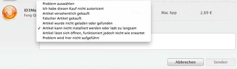 Mac App Store App zurückgeben