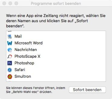 Mac App lässt sich nicht schließen
