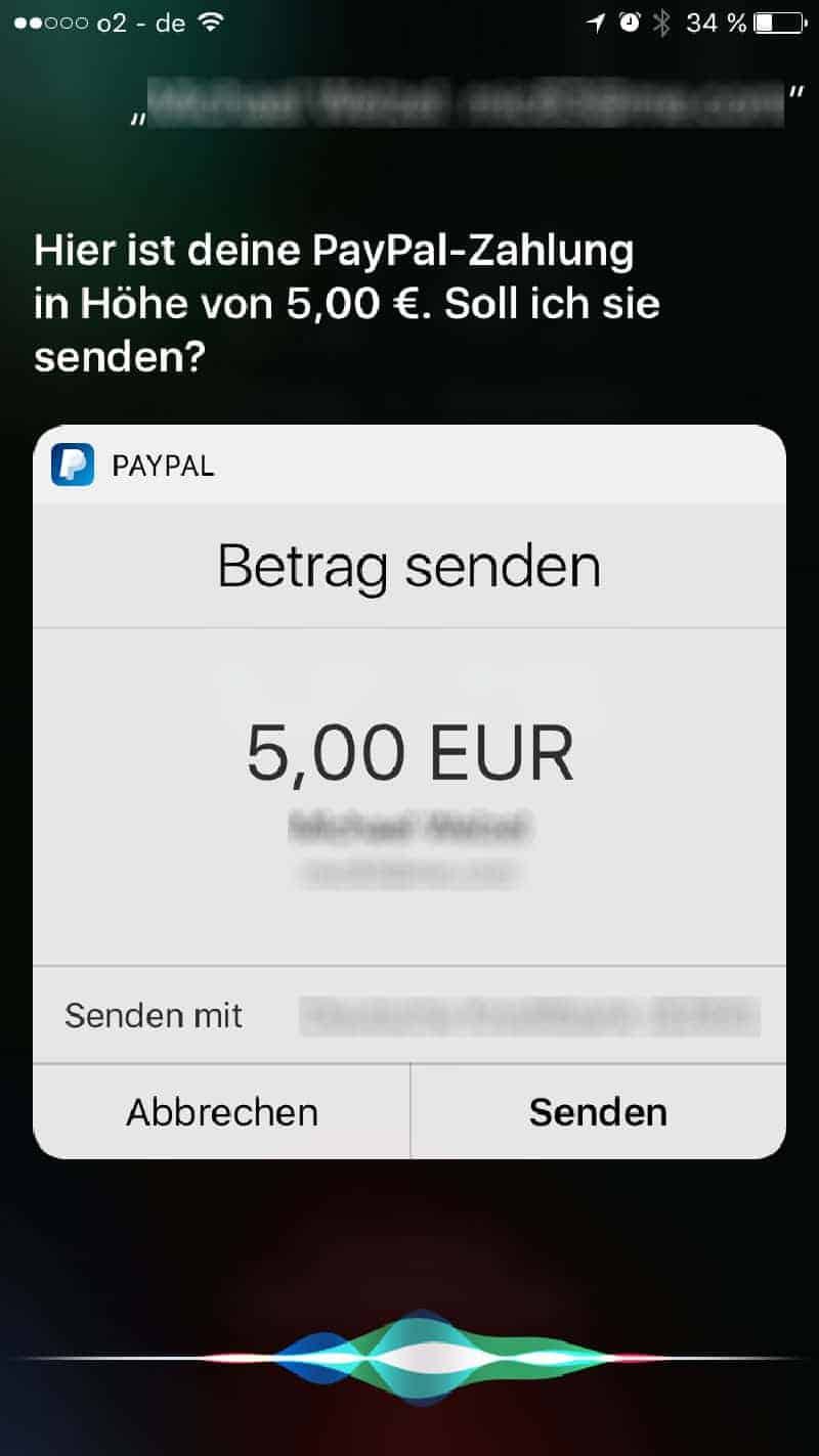 siri iphone paypal