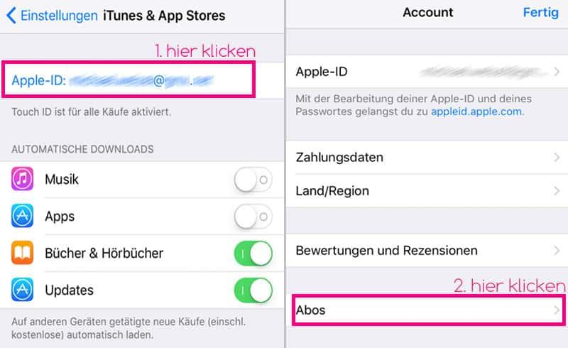 iOS Abos beenden