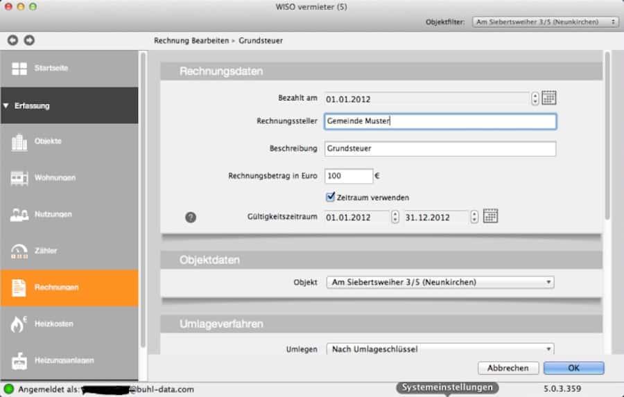 mac software Betriebskostenabrechnung