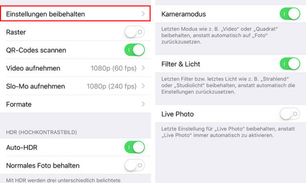 iPhone Kamera immer im Video Modus starten